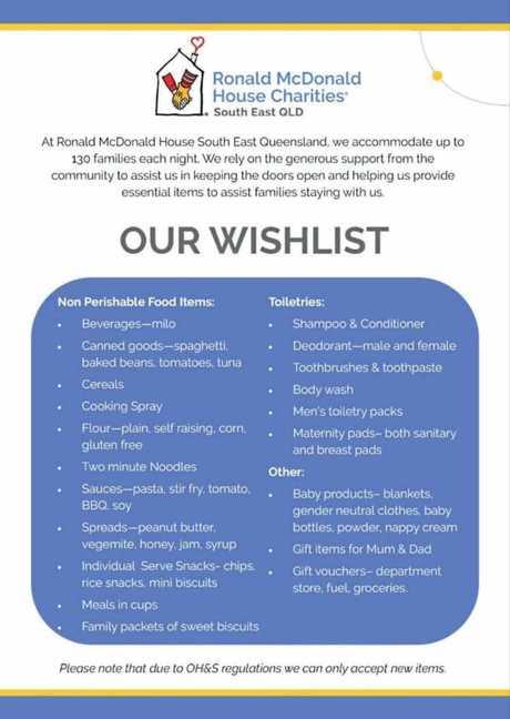 Ronald McDonald House wishlist