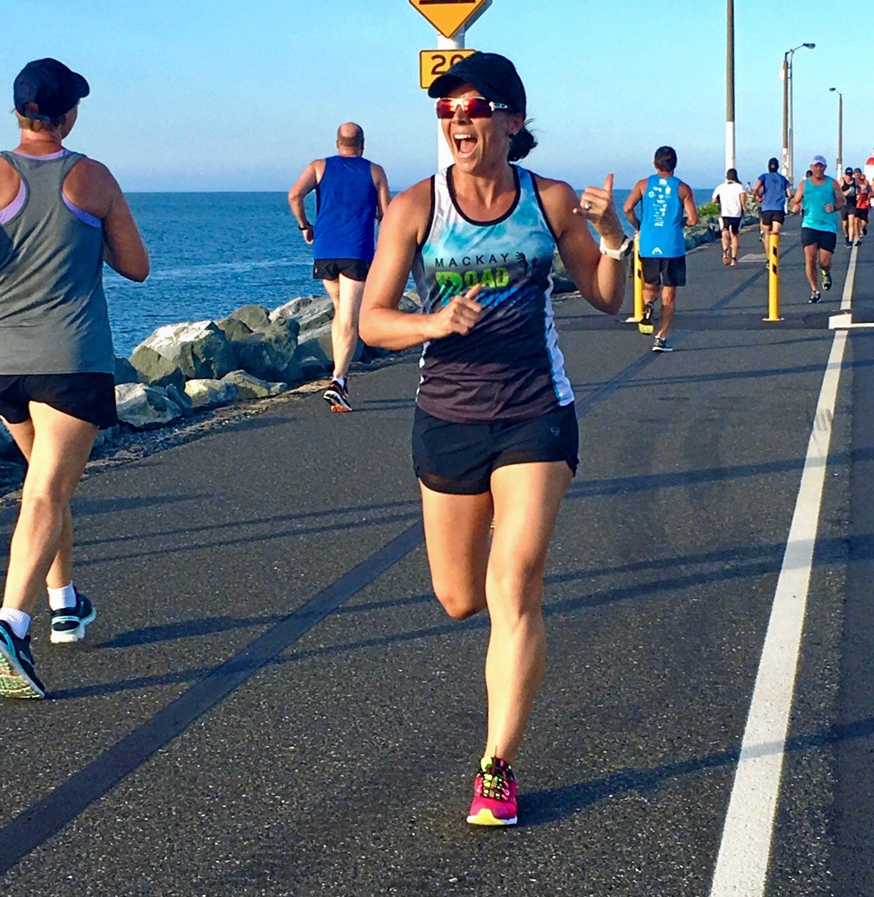 Mackay Roadrunners' first female in the Lighthouse Warmup 5km -up was current female club champion Ainslie Heinke.