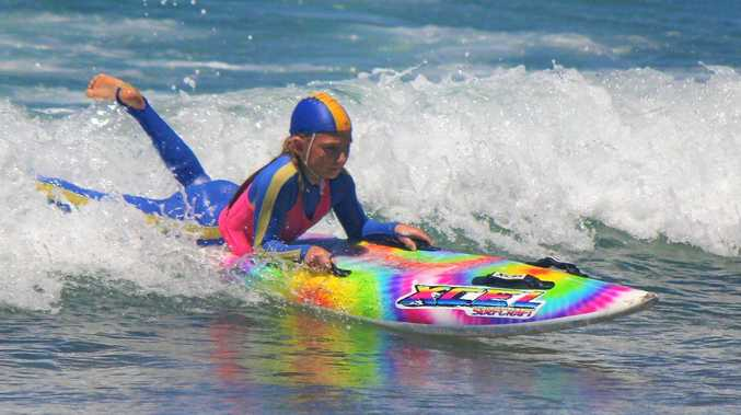U11s Isabella Devlin caught a great wave home in her board race.