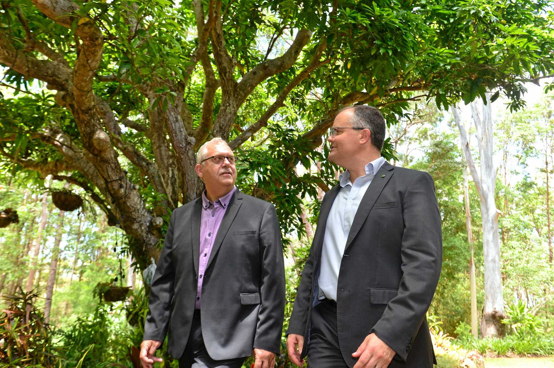 CEO Chris Franck and Ted O'Brien  at Bloomhill Cancer Charity in Buderim discuss the need for funding to help the facility survive.