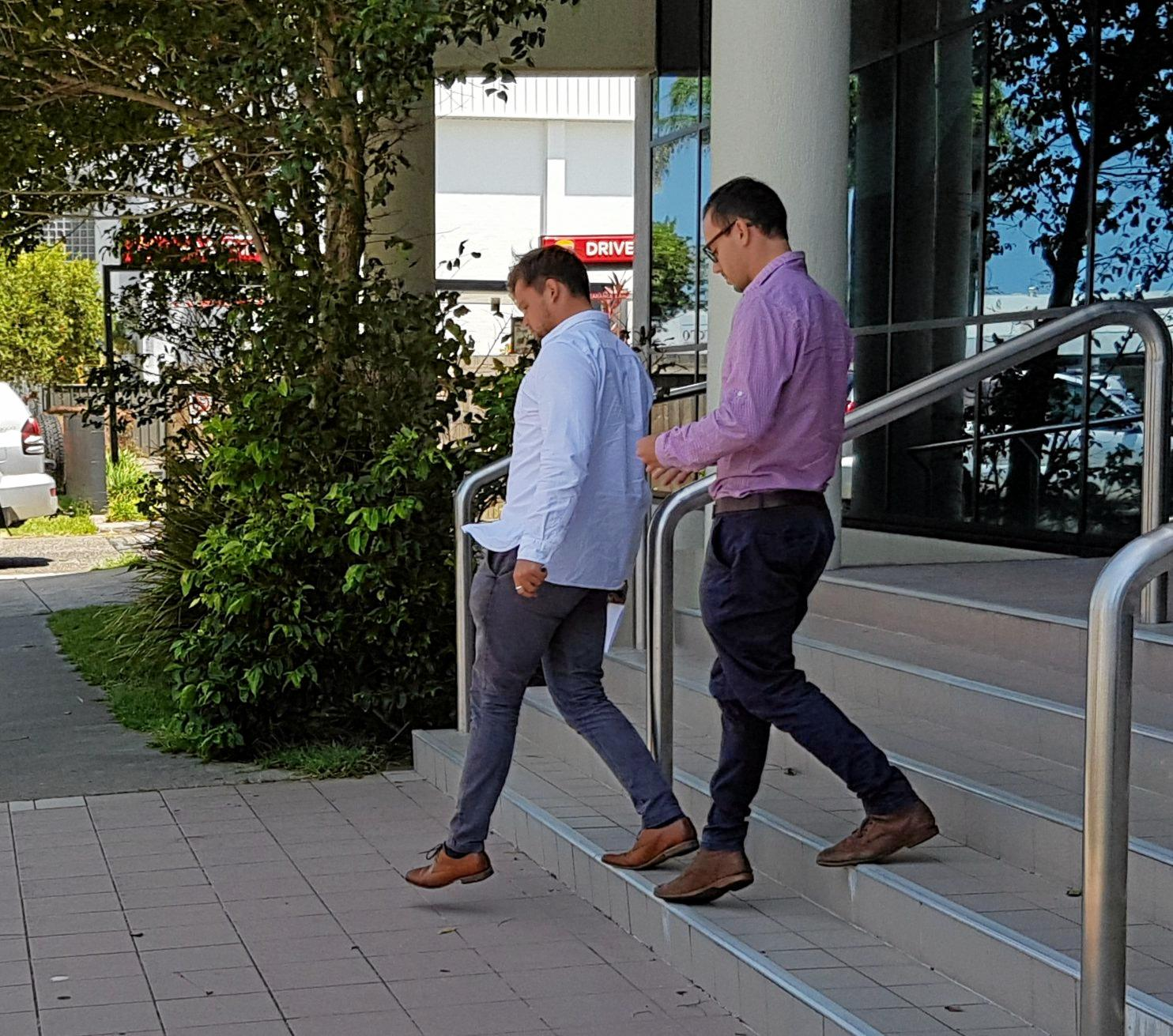 BROTHERS: Louis and Jack Geraghty walk out of Maroochydore Magistrates Court on Monday.