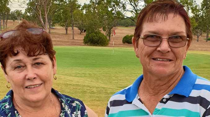 HOLE IN ONE: Lois Mesner congratulates Lorraine Lindenmayer on her hole in one on the Par 3.