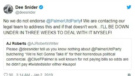 Dee Snider from twisted sister Tweet Clive palmer use of his songs