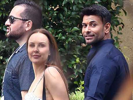 MAFS couple Melissa and Dino seen holding hands at Nine studios. Picture: Matrix