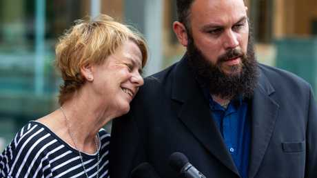 Barbara Spriggs and son Clive Spriggs speak to media after giving evidence at the Royal Commission into Aged Care, Commonwealth Courts in Adelaide. Picture: AAP/James Elsby