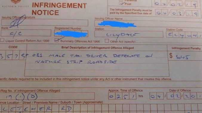 A taxi driver has been issued a $645
