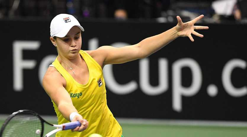 Ash Barty in action for Australia in their Fed Cup tie against the United States. Photo: Getty.