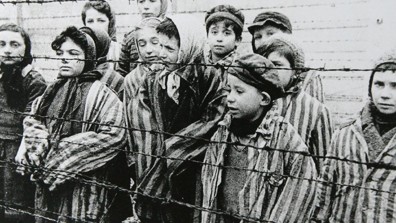 Children liberated from the Auschwitz extermination camp in 1945.