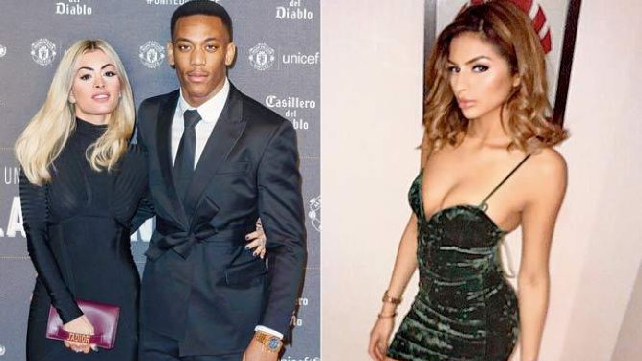 Anthony Martial and girlfriend Melanie Da Cruz and (right) model Malika Semichi.