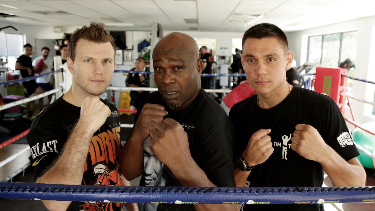 Jeff Horn, John Mugabi and a young Tim Tszyu. Picture: Mark Calleja