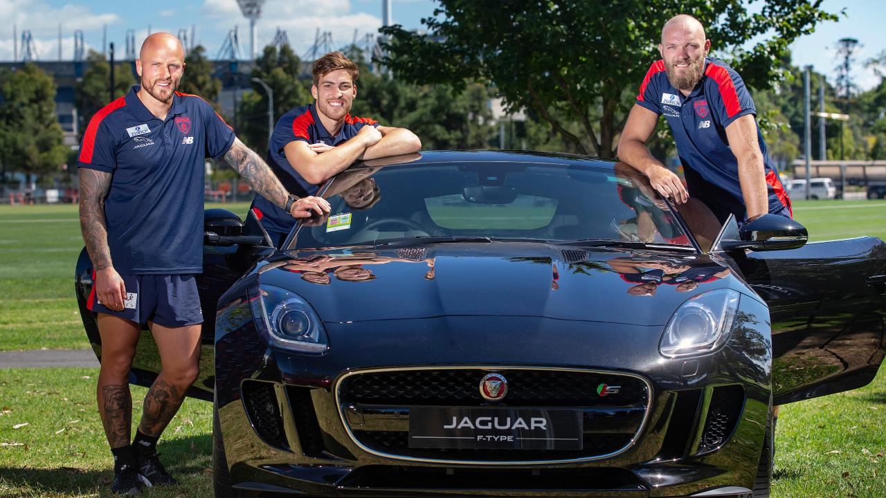 Demons stars Nathan Jones, Jack Viney and Max Gawn at the announcement of Melbourne's new sponsorship deal with Jaguar at Gosch's Paddock. Picture: Sarah Matray