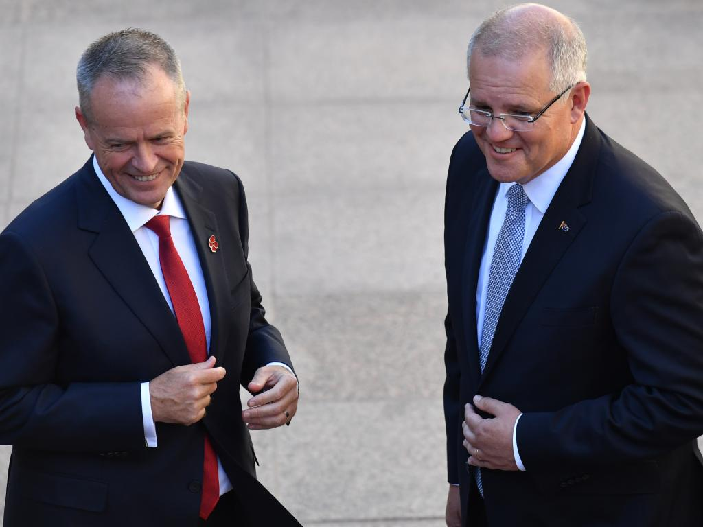 Leader of the Opposition Bill Shorten and Prime Minister Scott Morrison at the Last Post Ceremony at the Australian War Memorial in Canberra on Monday. Picture: AAP