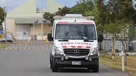 An ambulance leaves Barwon Prison, where Tony Mokbel was attacked today. Picture: Peter Ristevski