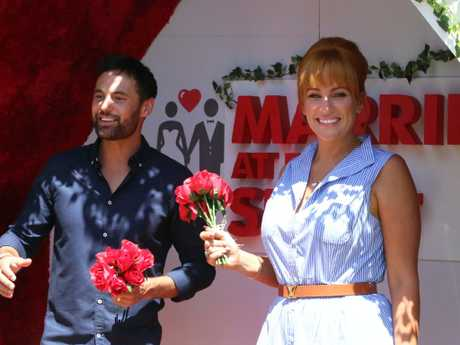 Married At First Sight couple Jules Robinson and Cameron Merchant pictured yesterday in Melbourne. Picture: Matrix