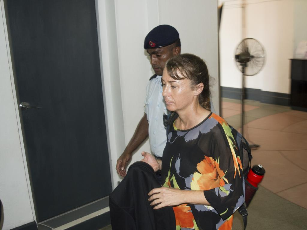 A gaunt-looking  Yvette Nikolic arrives at  Suva High Court. Picture: Varanisese Bolatagane/ News Corp Australia