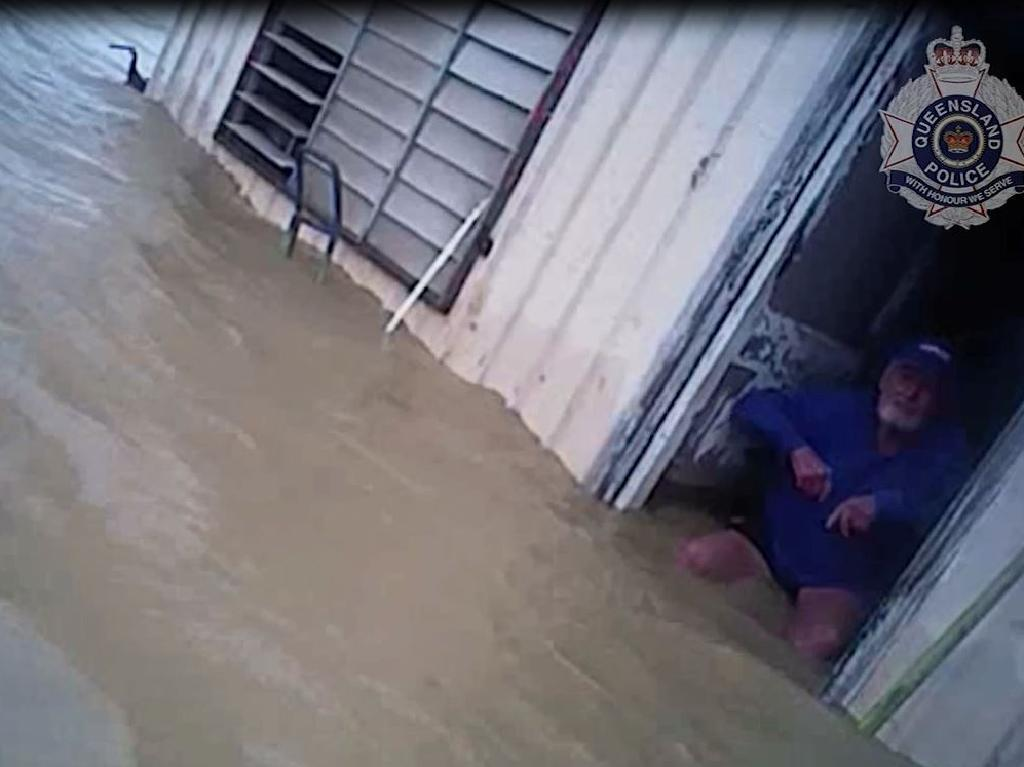 The man's home was inundated by rising flood waters when police attended the property