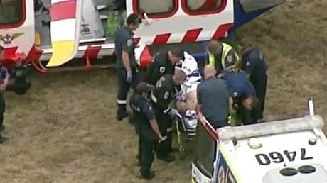 Tony Mokbel being worked on by paramedics at Barwon Prison after being stabbed this afternoon. Picture: Seven News