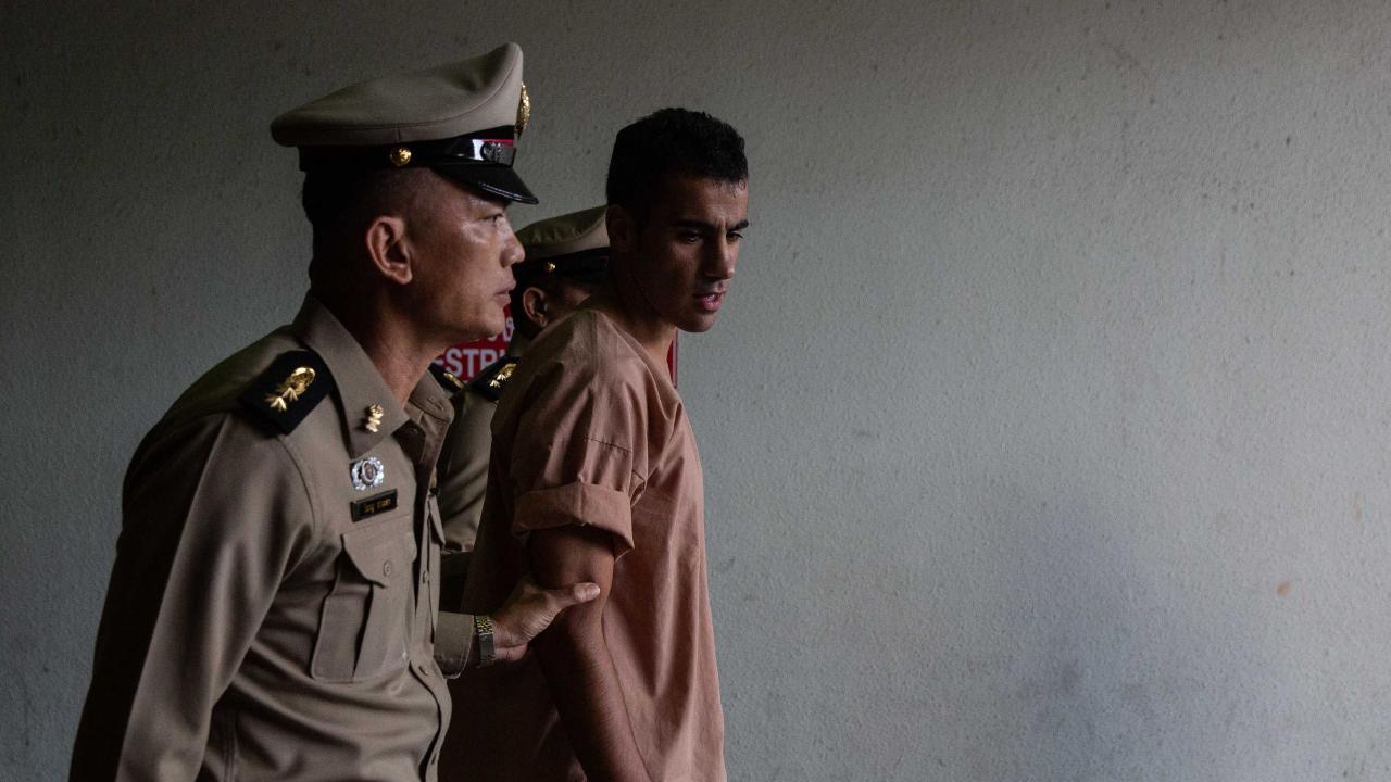 Detained Bahraini soccer player Hakeem al-Araibi arrives at the criminal court in Bangkok. Picture: AP Photo/Sakchai Lalit, File.