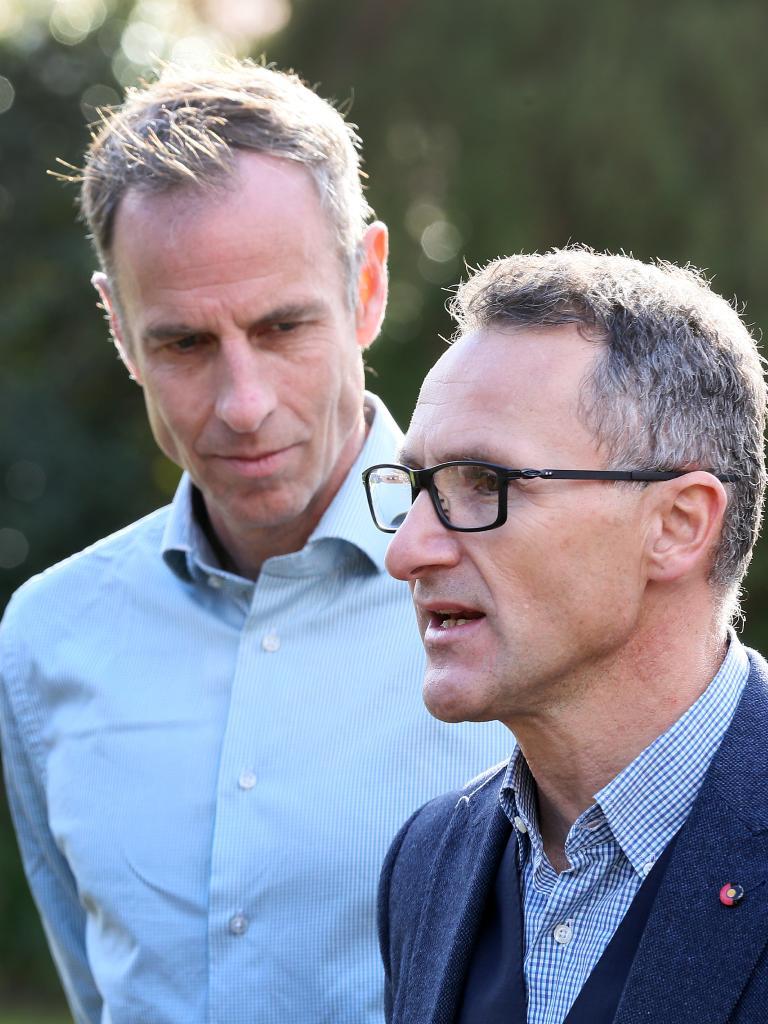 Greens Senator for Tasmania Nick McKim with Leader Senator Richard Di Natale. Picture: Chris Kidd