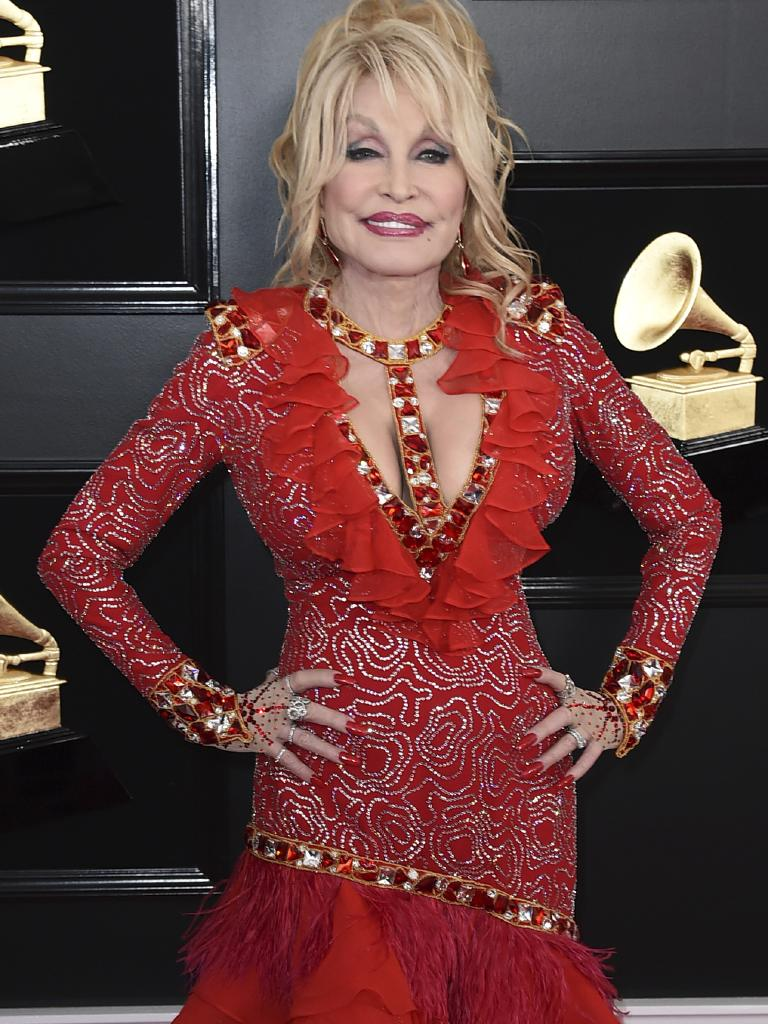 Dolly Parton arrives at the 61st annual Grammys. Picture: Getty