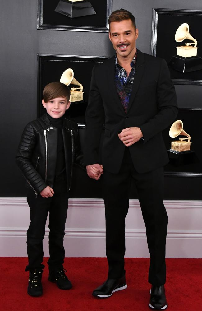 Ricky Martin and son. Picture: Getty