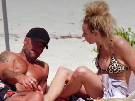 Mike Gunner and Heidi Latcham pictured arguing on the beach. Picture: Nine, Supplied