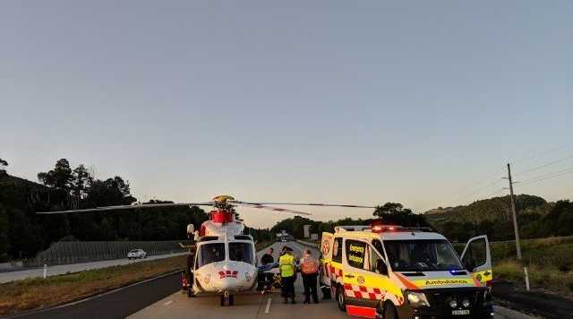 Westpac Life Saver Rescue Helicopter was tasked to male hit by car at on pacific highway between Ballina and Lennox Head.