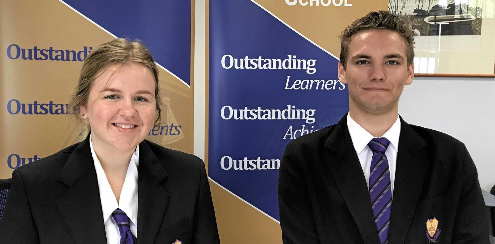 DEVELOPING SKILLS: Bundaberg North State High School school captains Hanna Sahlberg and Blake Saffy.
