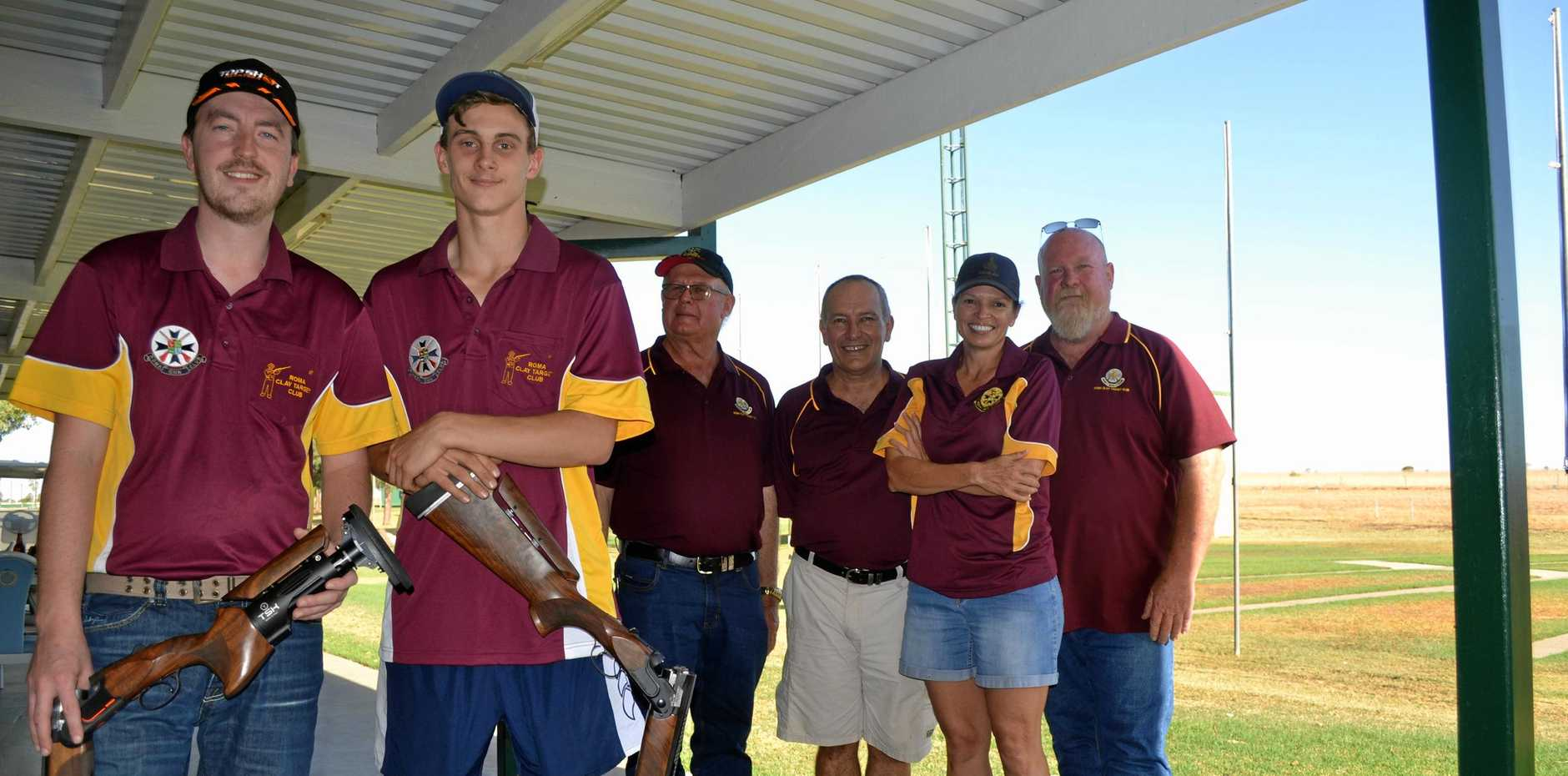 CRACK SHOTS: The Roma team for the 2019 Down the Line national titles includes (from left) Patrick Magee, Brodie Hewitt, Terrie Busiko, Tony Allen, Sharon Purcell and Andrew Whyte.