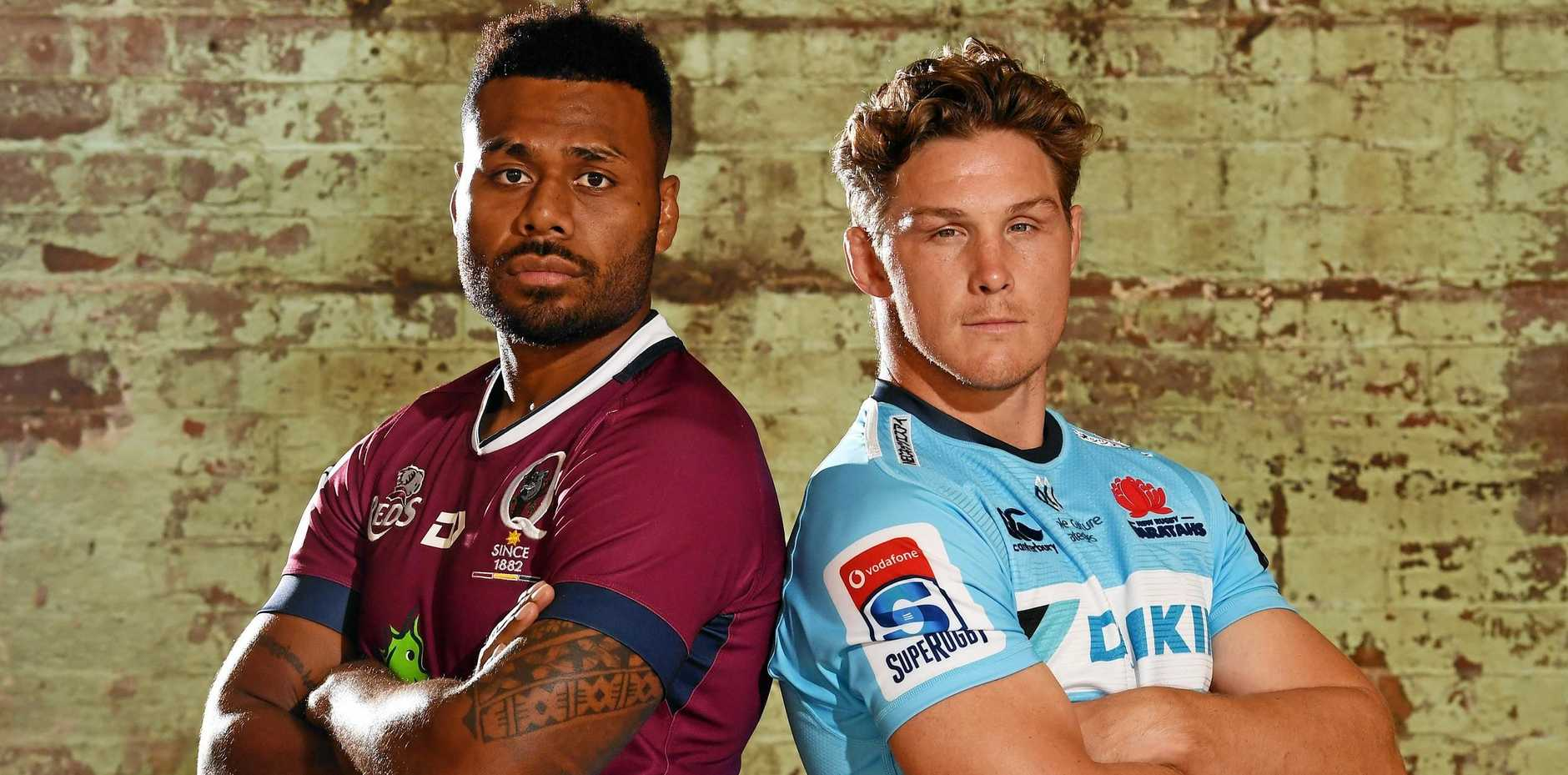 Queensland Reds skipper Samu Kerevi and NSW Waratahs captain Michael Hooper at the launch of the 2019 Super Rugby season in Sydney last week. Picture: Dean Lewins/AAP