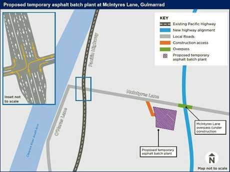 PROPOSED BATCH PLANT: The location of a new temporary proposed asphalt batch plant at McIntyres Ln, Gulmarrad.