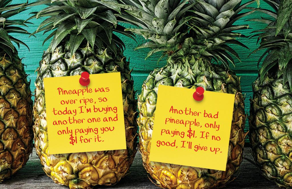 ROUGH DEAL: A customer's 'rude' notes about pineapples bought from a roadside stall and the decision to pay less than the asking price have angered the stall owner whose says the person is taking money from her children.