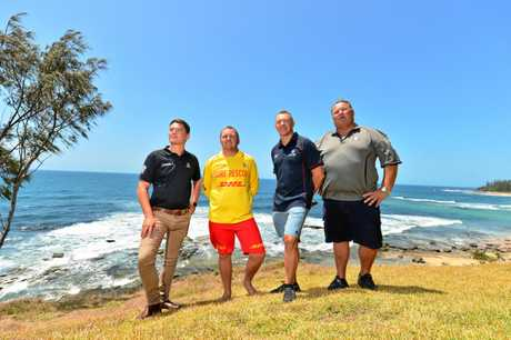 RECOGNISED: (L-R) Jacob Thomson, Nathan Steer, Graham Sharry and Dave McLean are being recognised with rescue of the month awards for their rescue of a kayaker who was attacked by a 4m tiger shark while fishing off Moffat Headland.