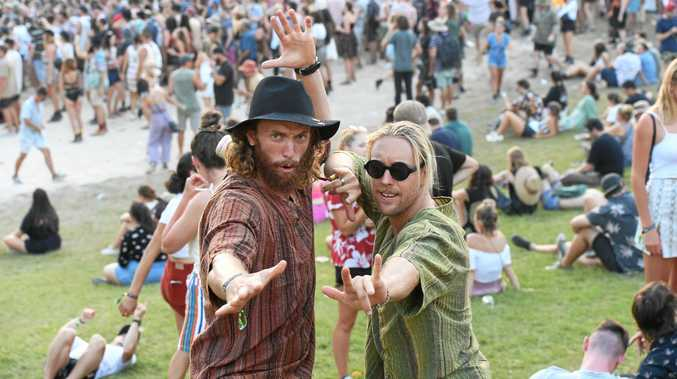 Punters at Falls Festival in Byron Bay celebrate Toto playing some of their favourite tunes on the third and final day of the festival.