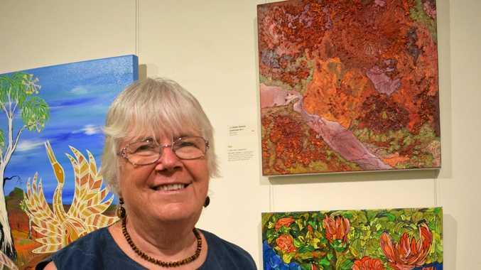 TALENT: Chinchilla artist Helen Dennis with her winning artwork (top right).