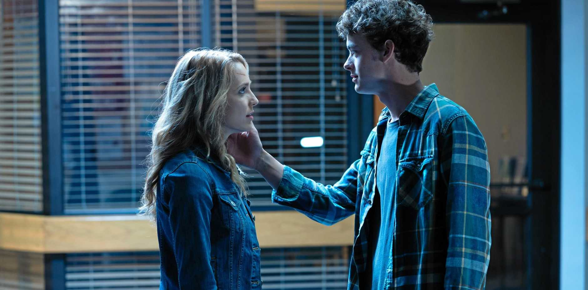 Jessica Rothe and Israel Broussard in a scene from Happy Death Day 2U.