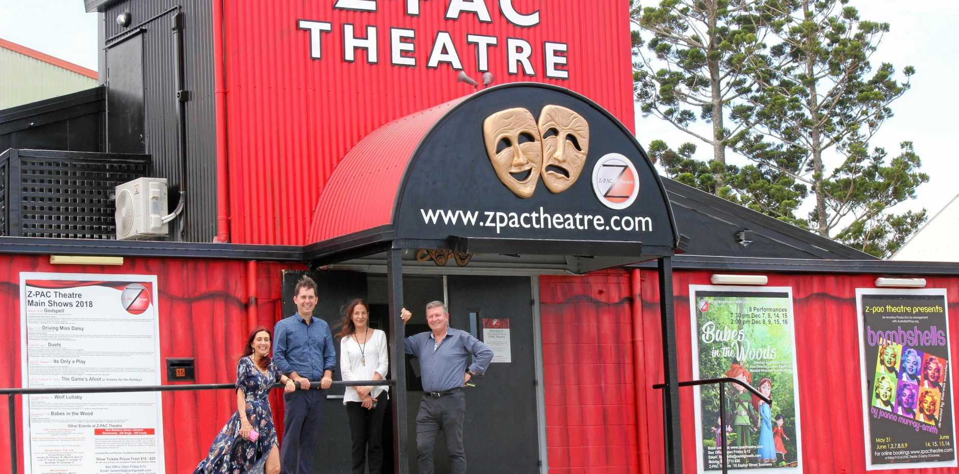 LOOKING GOOD: Z-PAC Theatre has a new lease of life after the facade was recently painted. Mayor George Seymour, president Liane Mills, secretary Steve Dixon and prop manager and artist Katrin Chrysaphis are proud to present the new look to the Fraser Coast community.