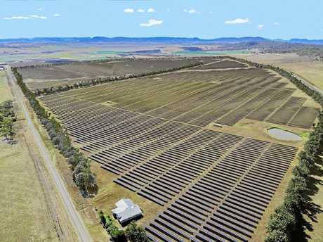 An artist impression of the Warwick Solar Farm.