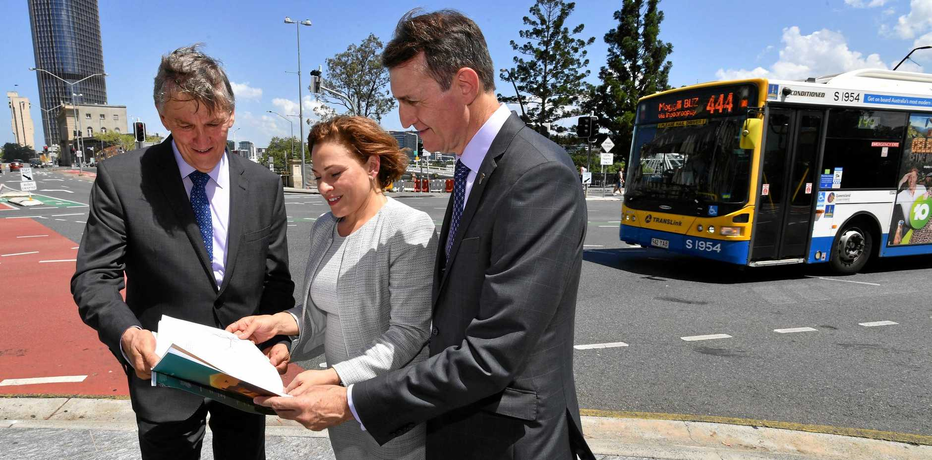 PLANNING: Examining the SEQ City Deal plan which was released yesterday are (from left) Scenic Rim Mayor Greg Christensen, Deputy Premier Jackie Trad (centre) and Brisbane Mayor Graham Quirk.