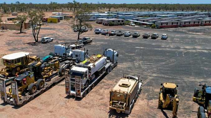 Machinery has arrived at Adani's Labona Camp in central Queensland to begin construction on the Carmichael megamine.