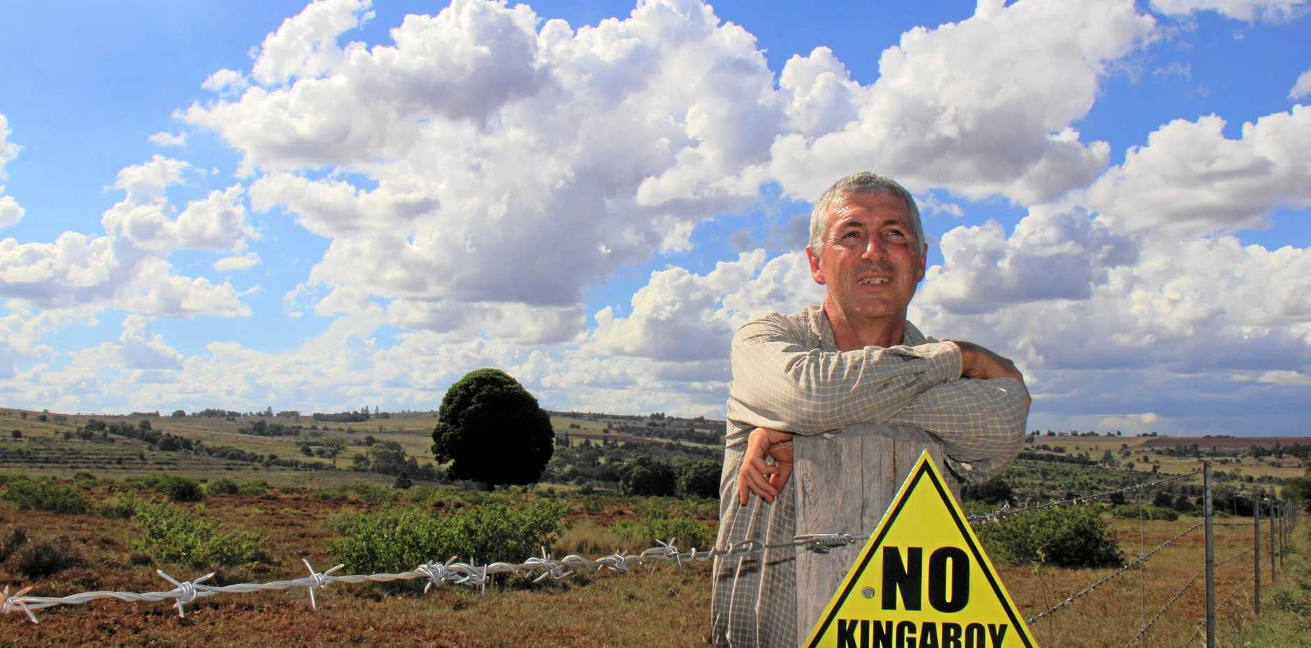 Kingaroy Concerned Citizens Group's John Dalton stands near the Kingaroy mine site.