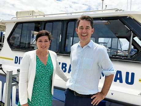 COMING SOON: Minister for Environment and the Great Barrier Reef Leeanne Enoch and Fraser Cost Mayor George Seymour announcing that dives at the HMAS Tobruk site will start this month.