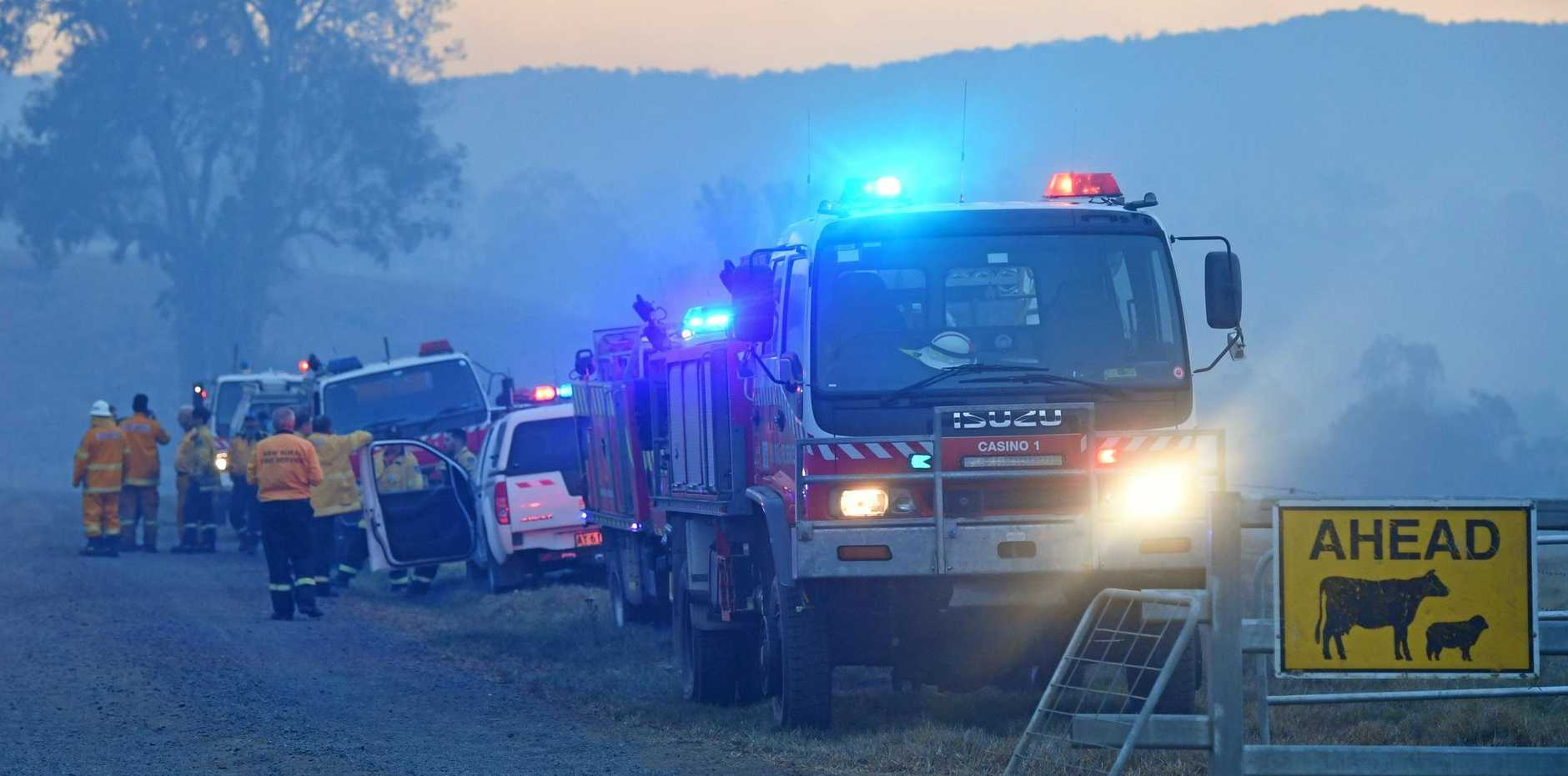 Fire Fighters at the staging point for where they were fighting the blaze at Tabulam.