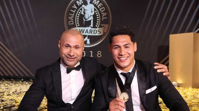 Dally M Player of the Year Roger Tuivasa-Sheck with his father Johnny during the 2018 Dally M Awards. Picture: Brett Costello