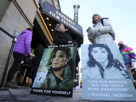 Michael Jackson supporters outside of the cinema at Sundance where the controversial documentary was screened. Picture: AP