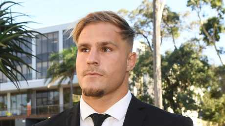 St. George Illawarra Dragons player Jack de Belin arrives at Wollongong Local Court. Picture: Dean Lewins