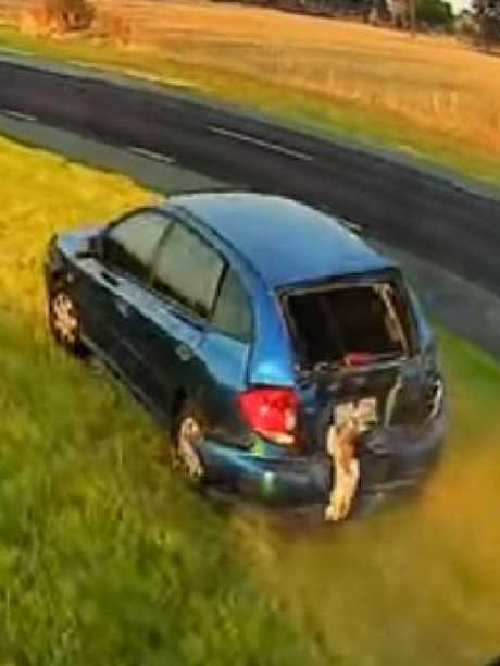 He was then forced onto the median strip by the truck. Picture: Dash Cam Owners Australia