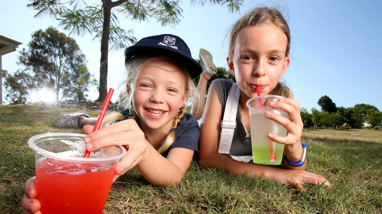 Suki and Coco Fidler enjoy some Slush Puppies at Milton. Pic: Steve Pohlner
