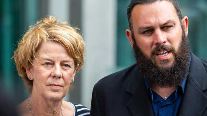 Barbara Spriggs and son Clive Spriggs speak to media after giving evidence at the Royal Commission into Aged Care in Adelaide. Picture: AAP Image/James Elsby
