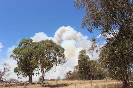 BURN: Smoke from the fire blaze in Girraween National Park near Wallangarra.